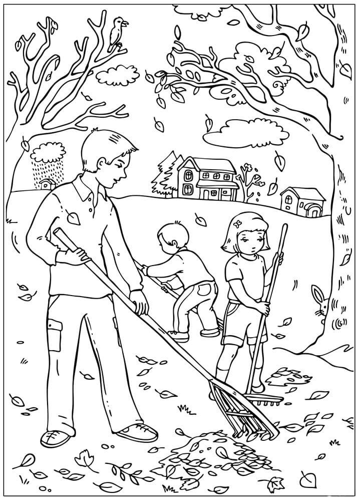 Раскраска Уборка листьев