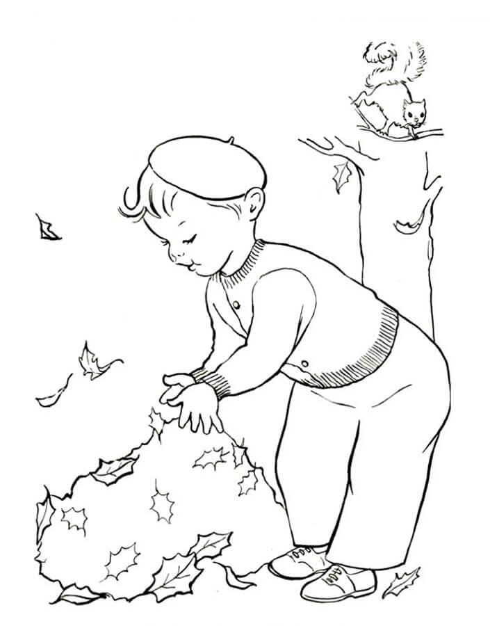 Раскраска Уборки листвы