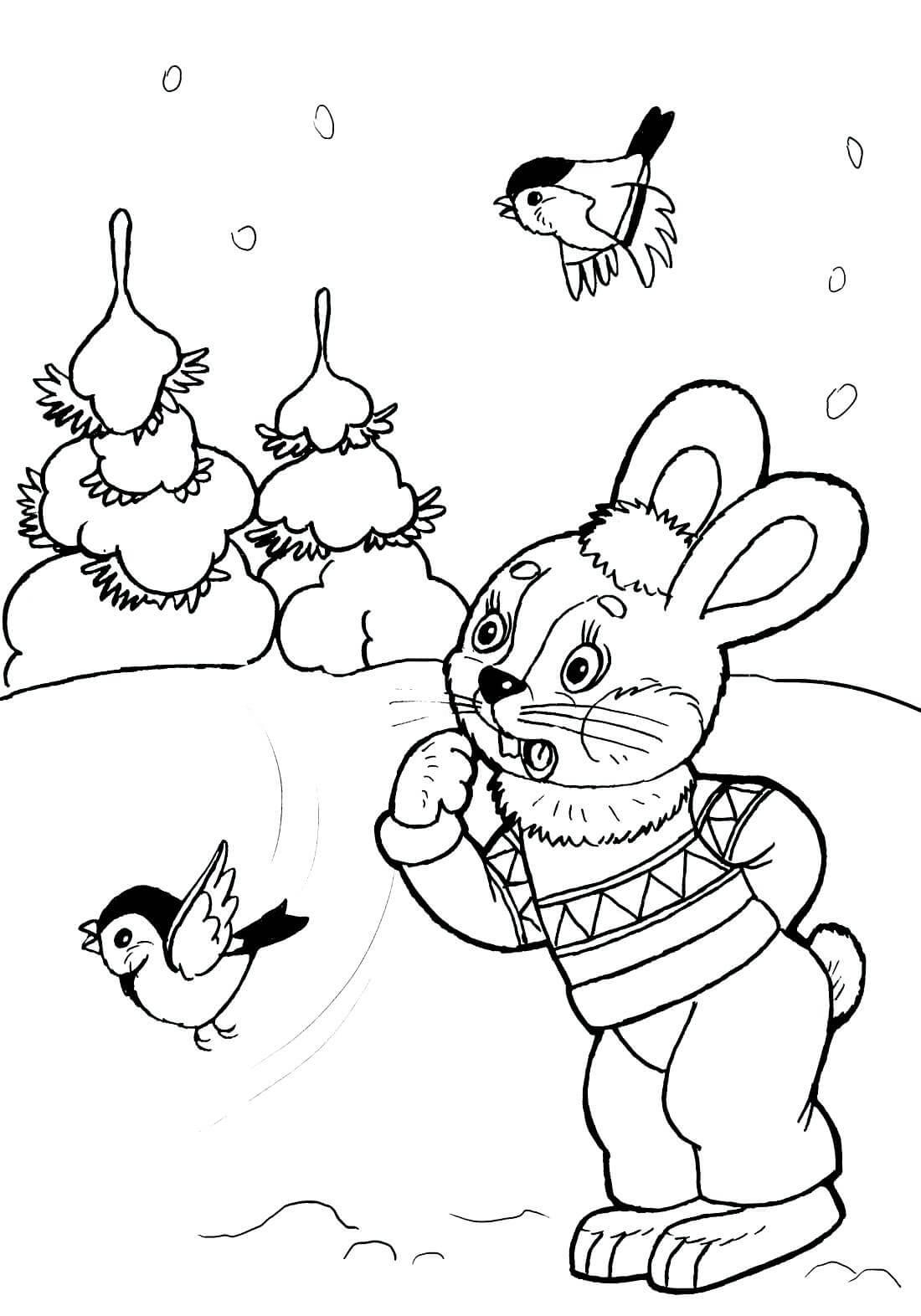 Раскраска Удивлённый зайчик