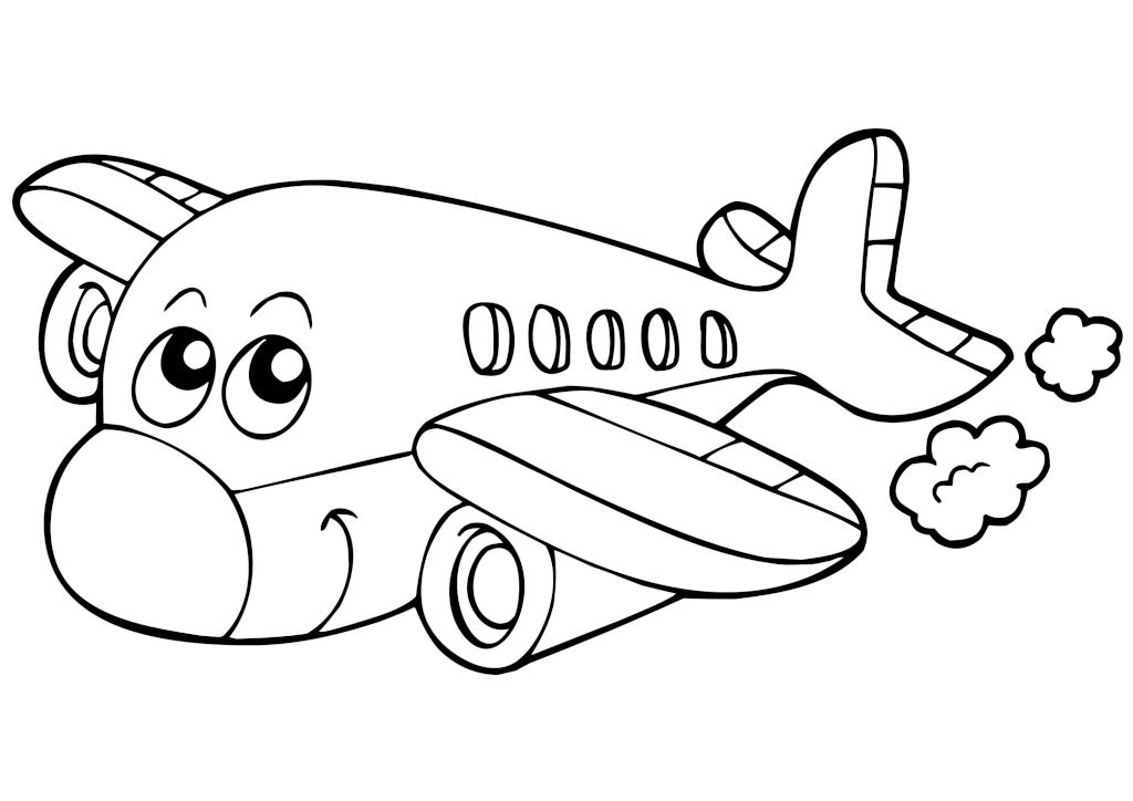 Раскраска «Улыбающийся самолёт»
