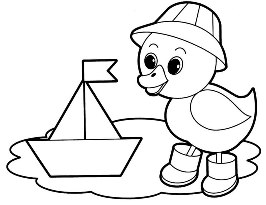 Раскраска Утёнок и кораблик