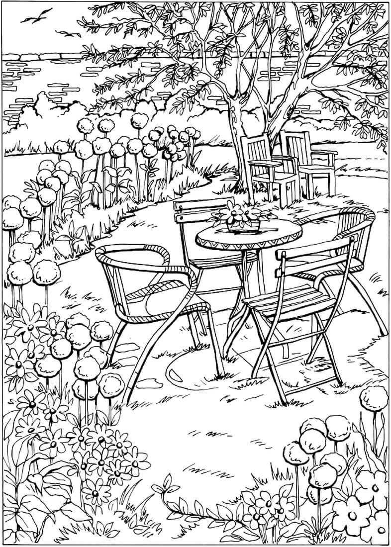 Раскраска Уютный весенний дворик