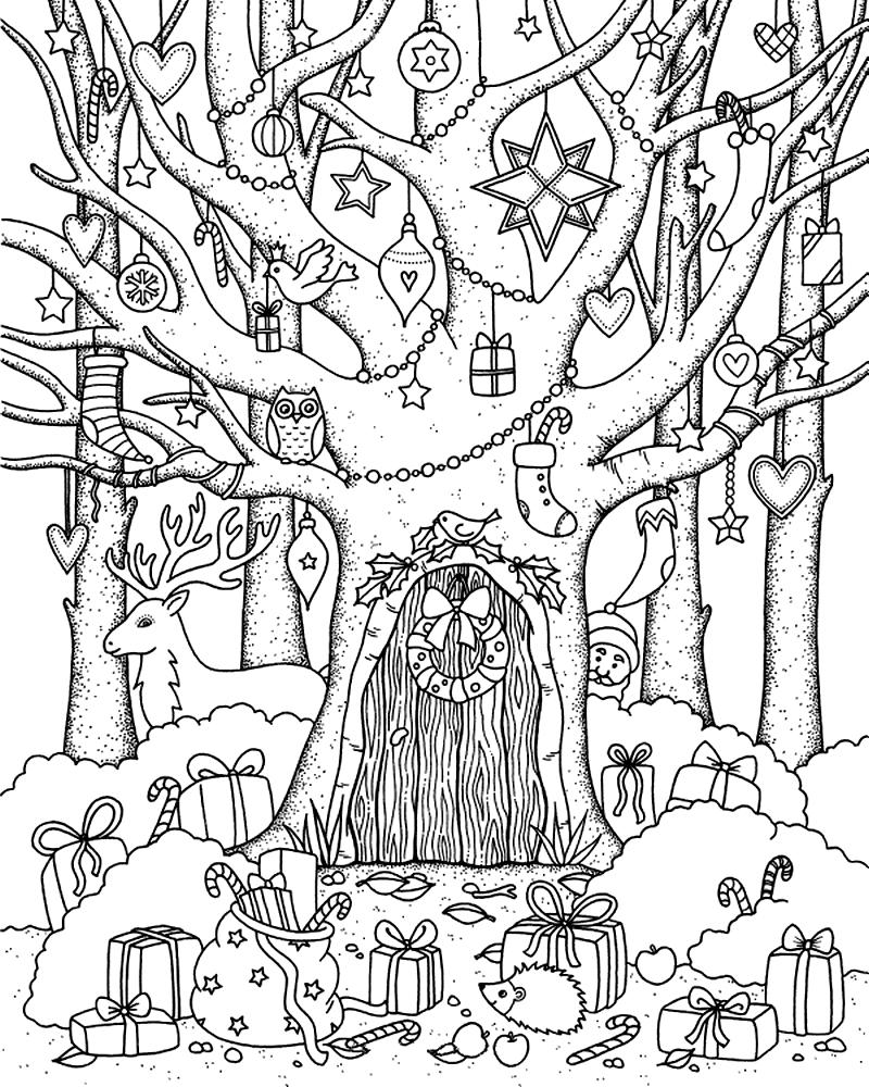 Раскраска В лесу Новый год