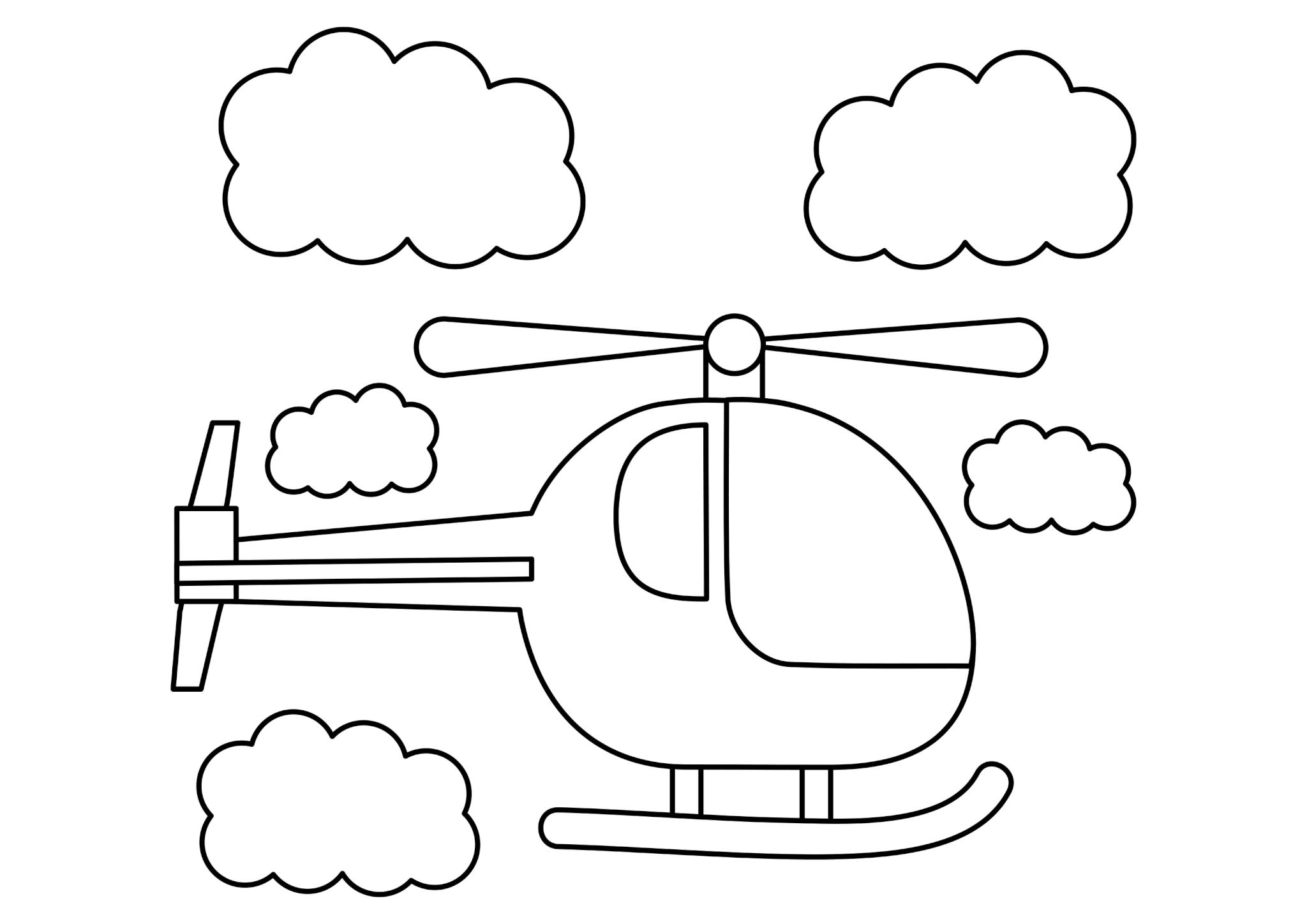 Раскраска Вертолет среди облаков