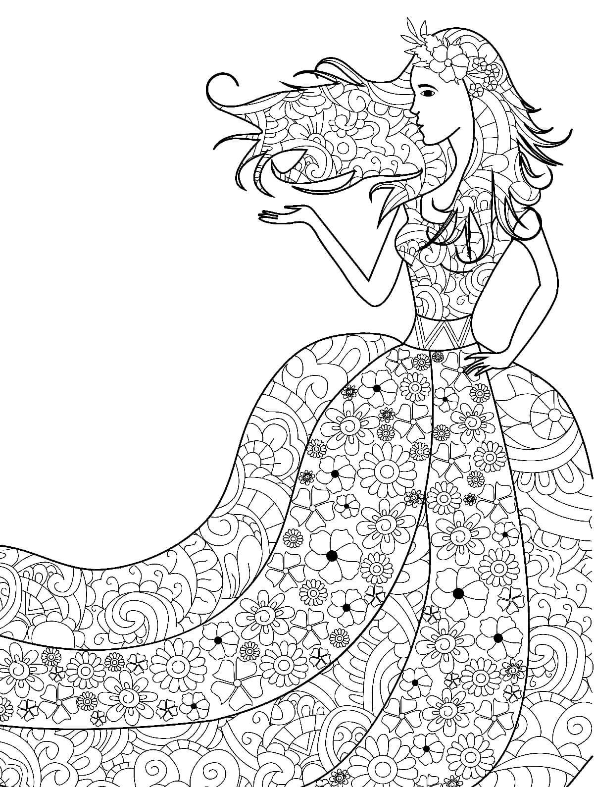 Раскраска Весеннее платье