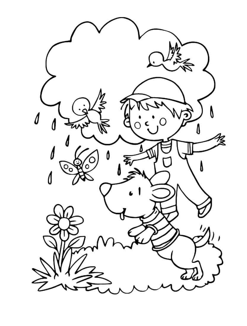 Раскраска Весенний дождик