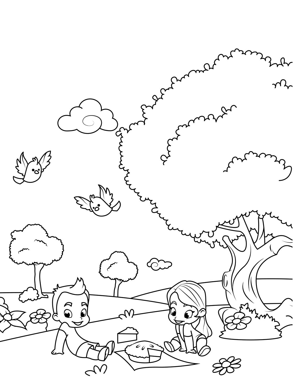 Раскраска Весенний пикник