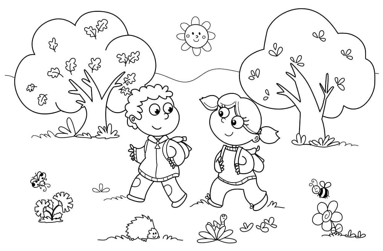 Раскраска Весенняя прогулка