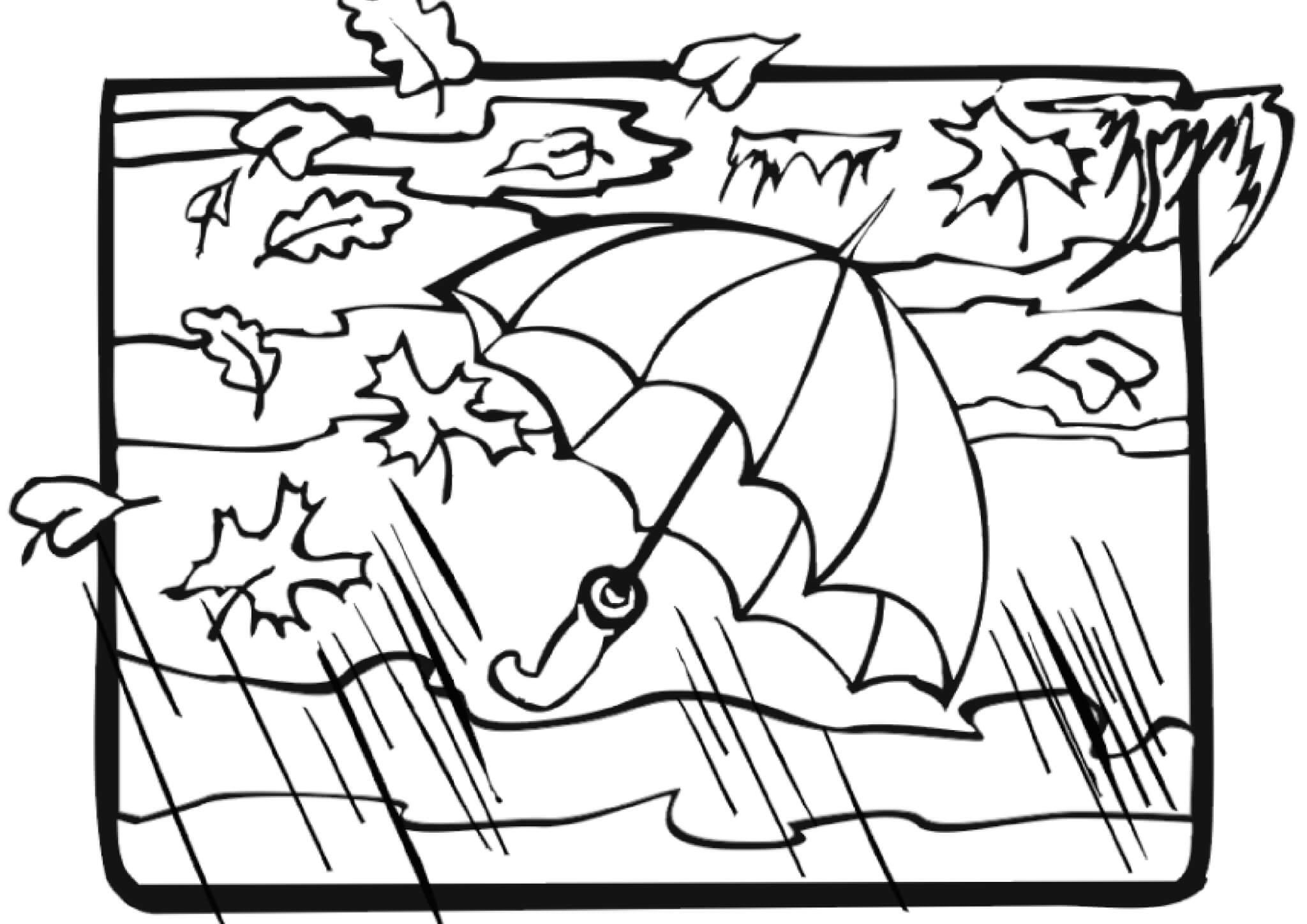 Раскраска Ветреная и дождливая осень