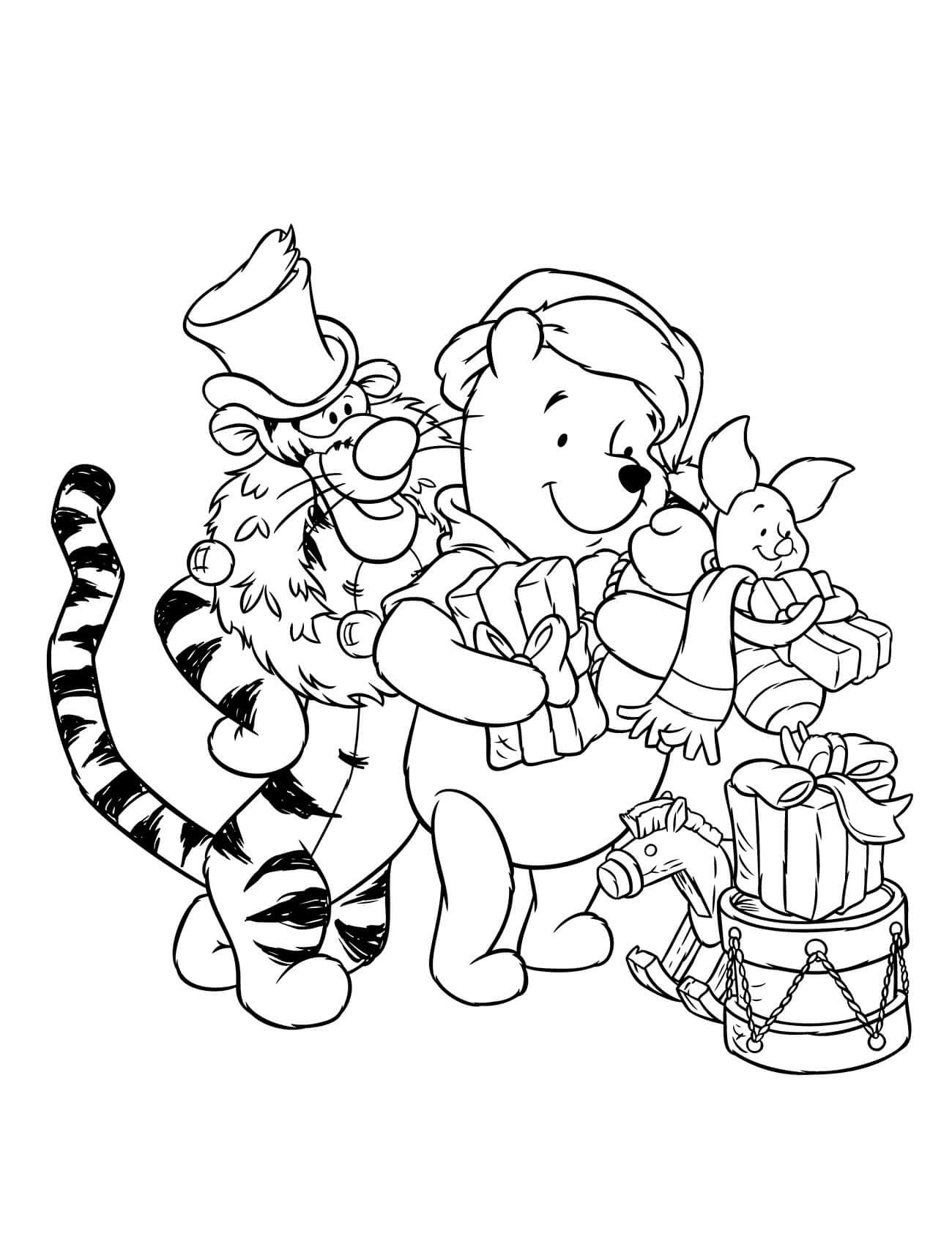 Раскраска Винни Пух и его друзья разбирают подарки