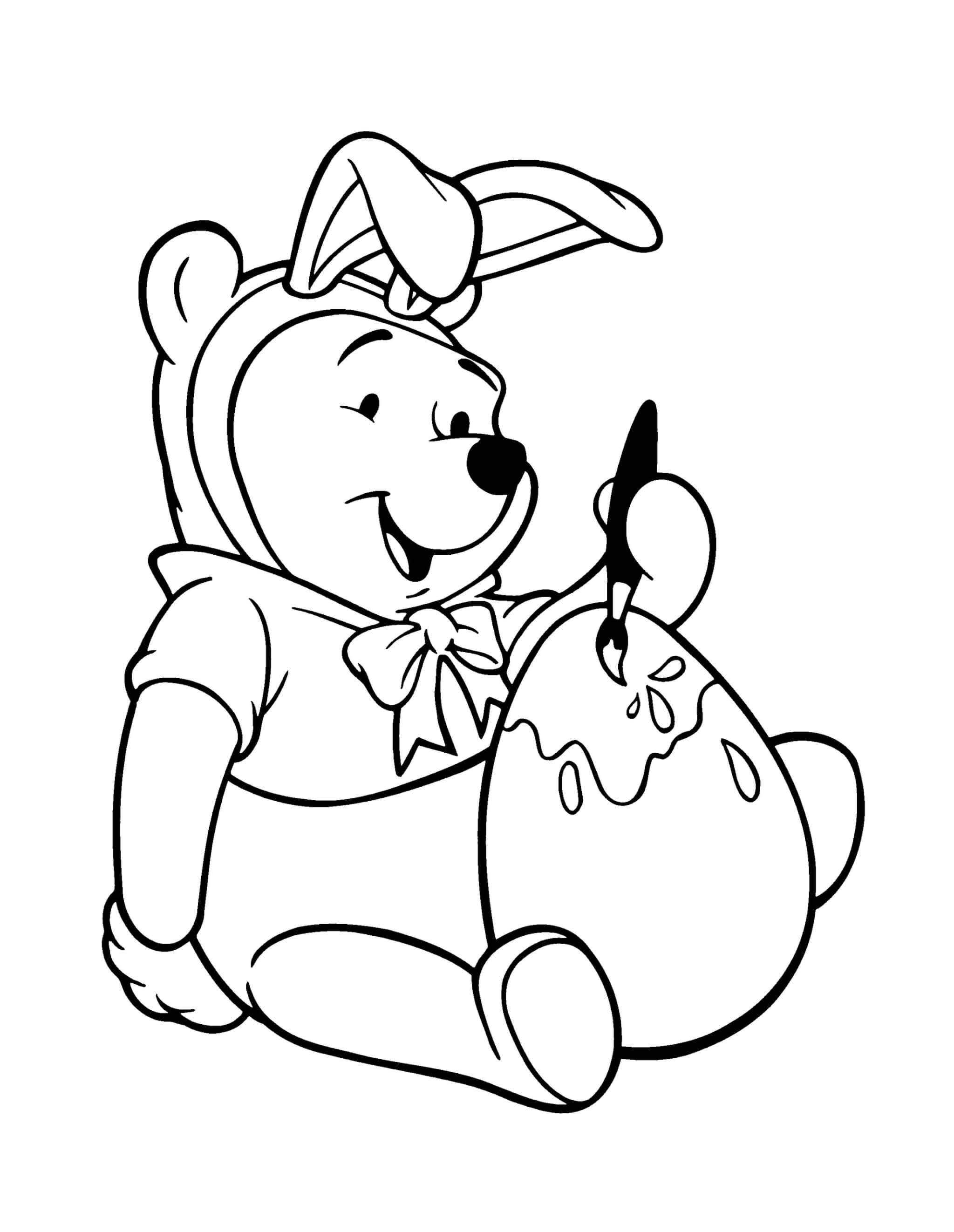 Раскраска Винни Пух и пасхальное яйцо