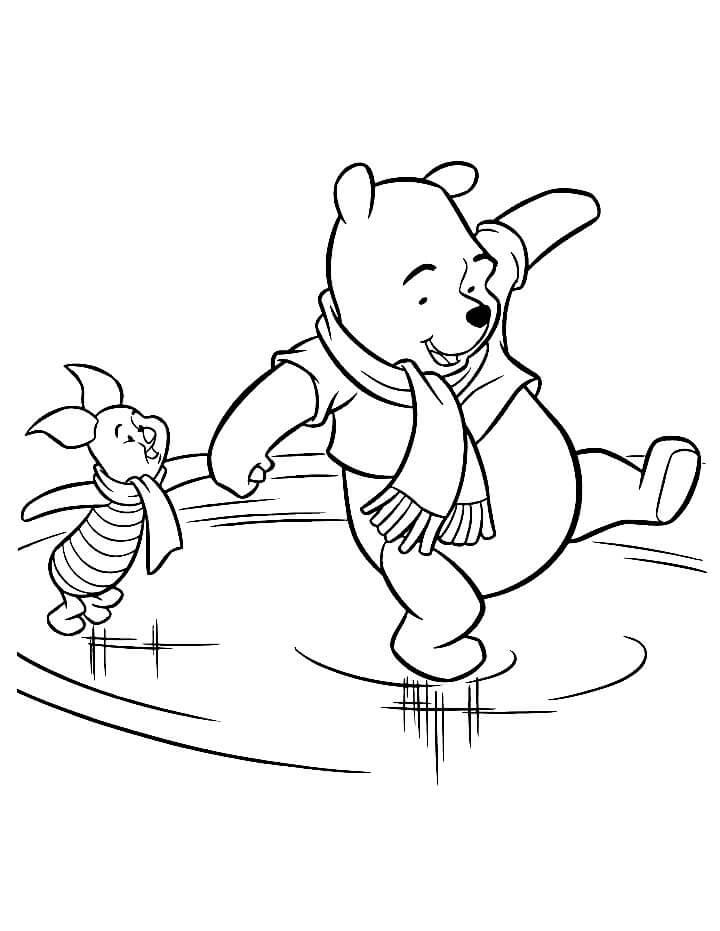 Раскраска Винни Пух и Пятачок на катке