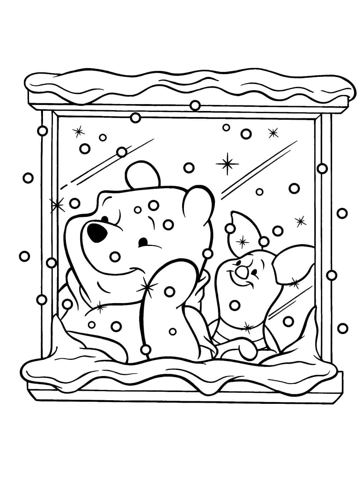 Раскраска Винни Пух и Пятачок сидят у окна