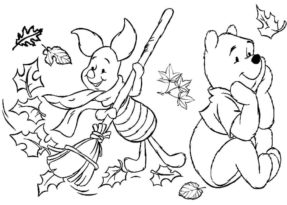 Раскраска Винни Пух и Пятачок