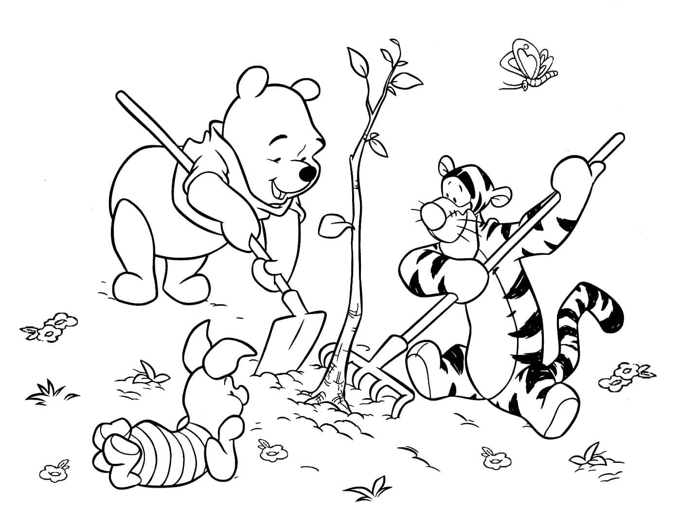 Раскраска Винни Пух, Тигруля и Пятачок
