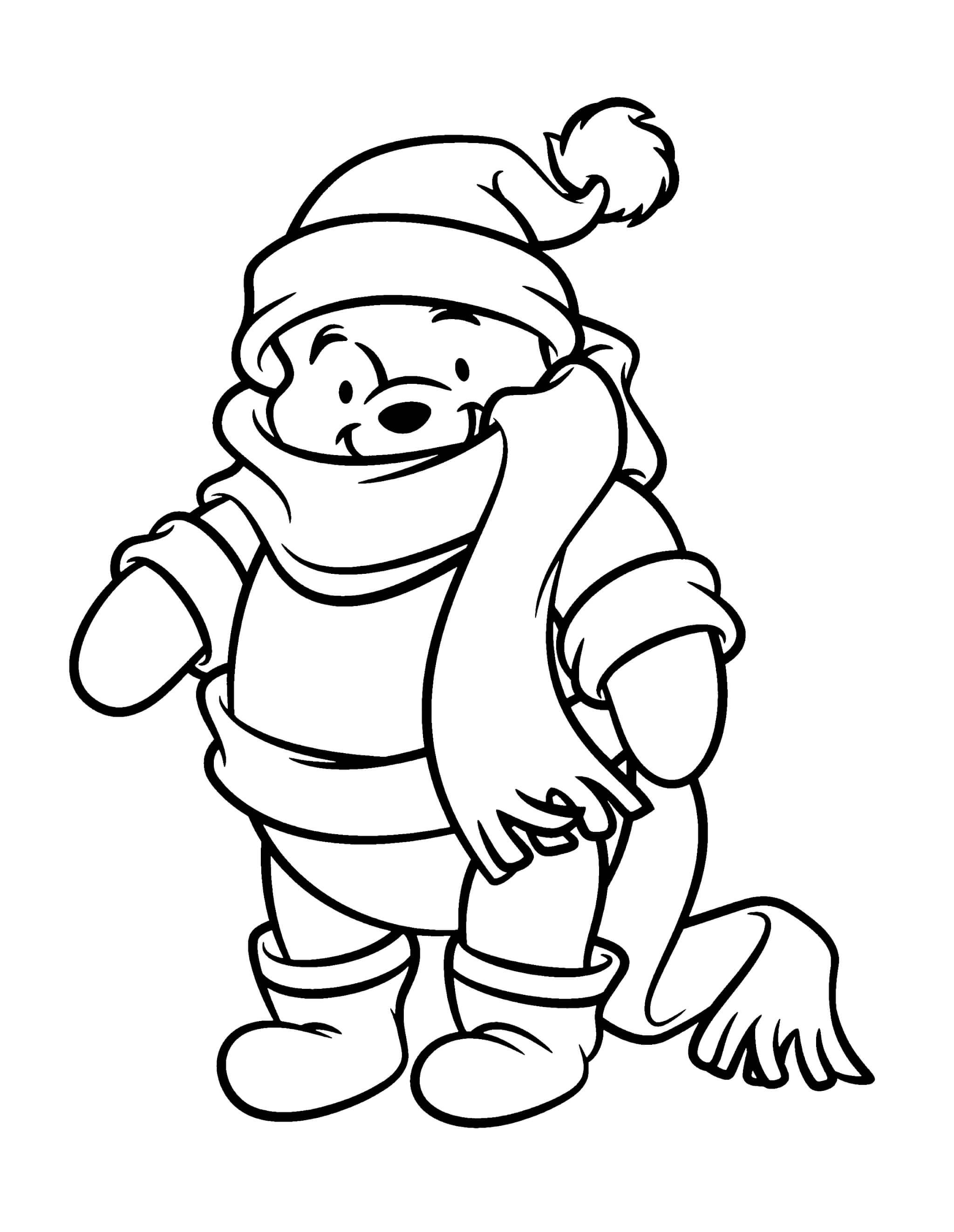 Раскраска Винни Пух утеплился к зиме