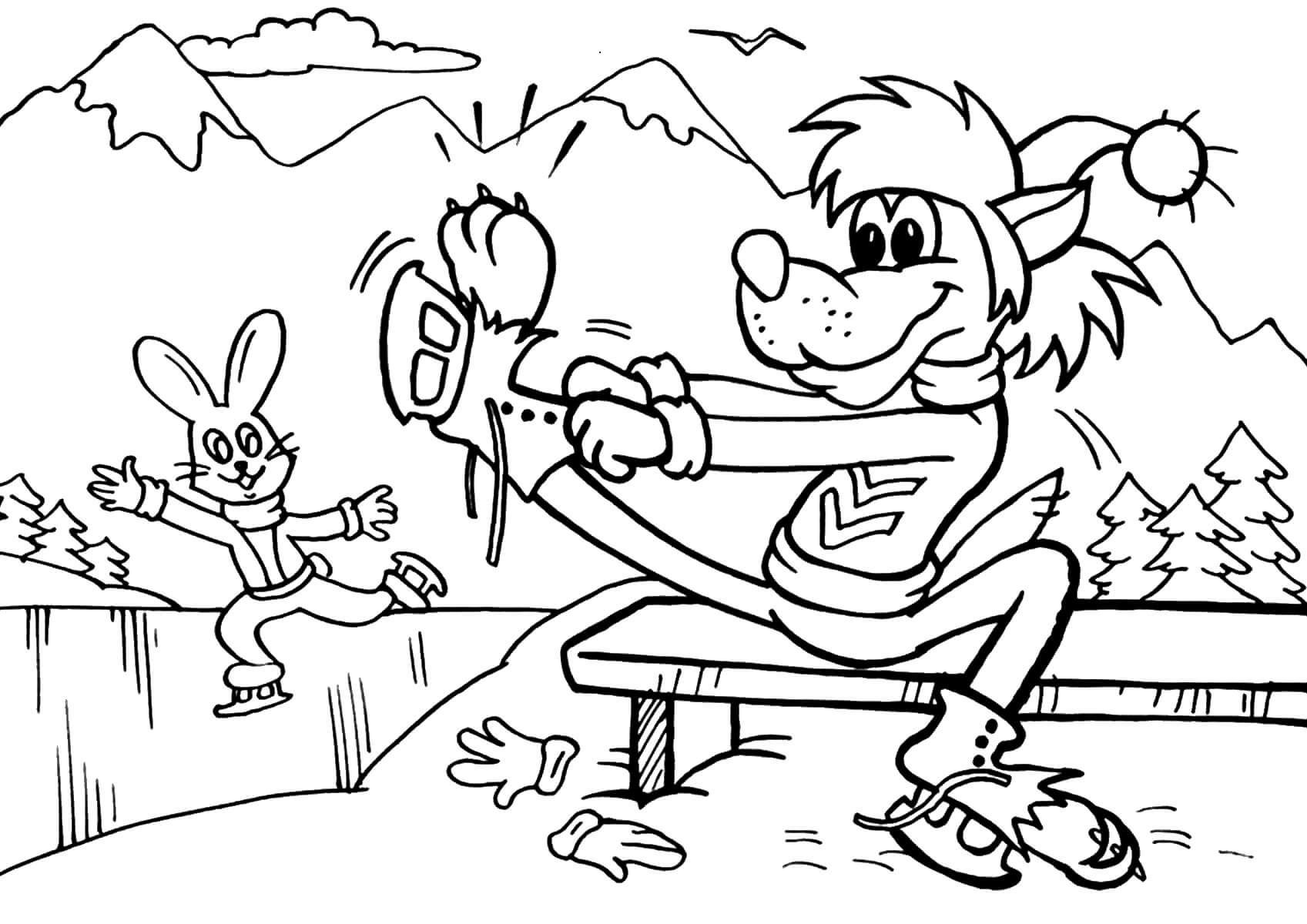Раскраска Волк и заяц на катке