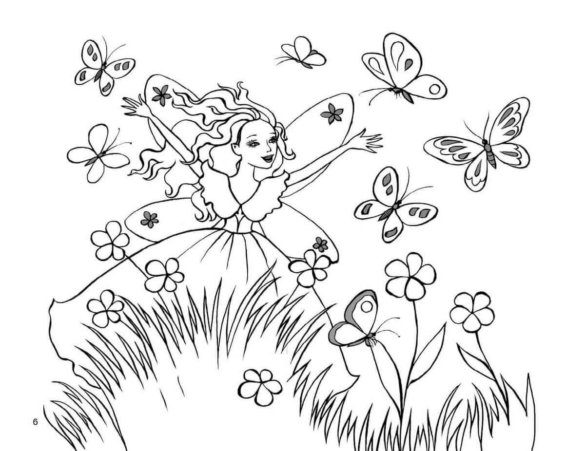 Раскраска Волшебная фея и бабочки