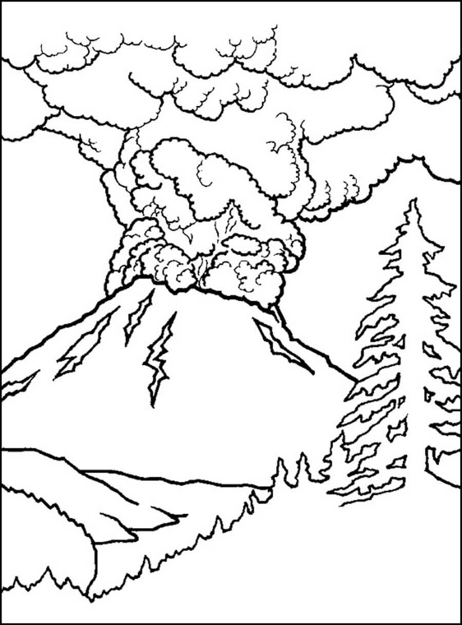 Раскраска Вулкан извергается