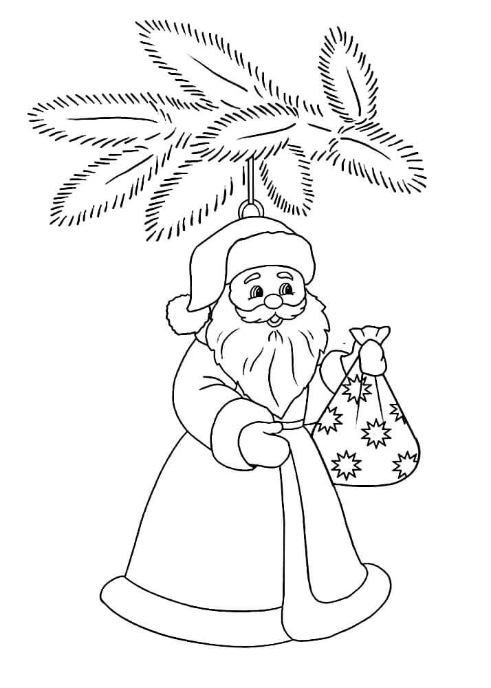 Раскраска Ёлочная игрушка с Дедом Морозом