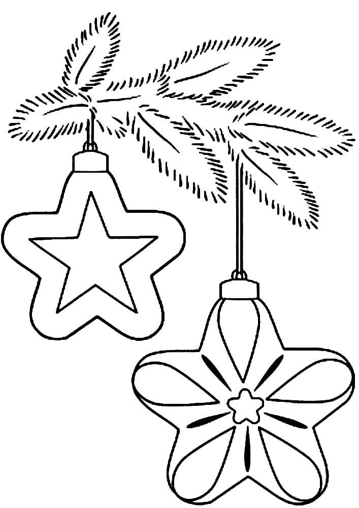 Раскраска Ёлочные игрушки со звёздочками