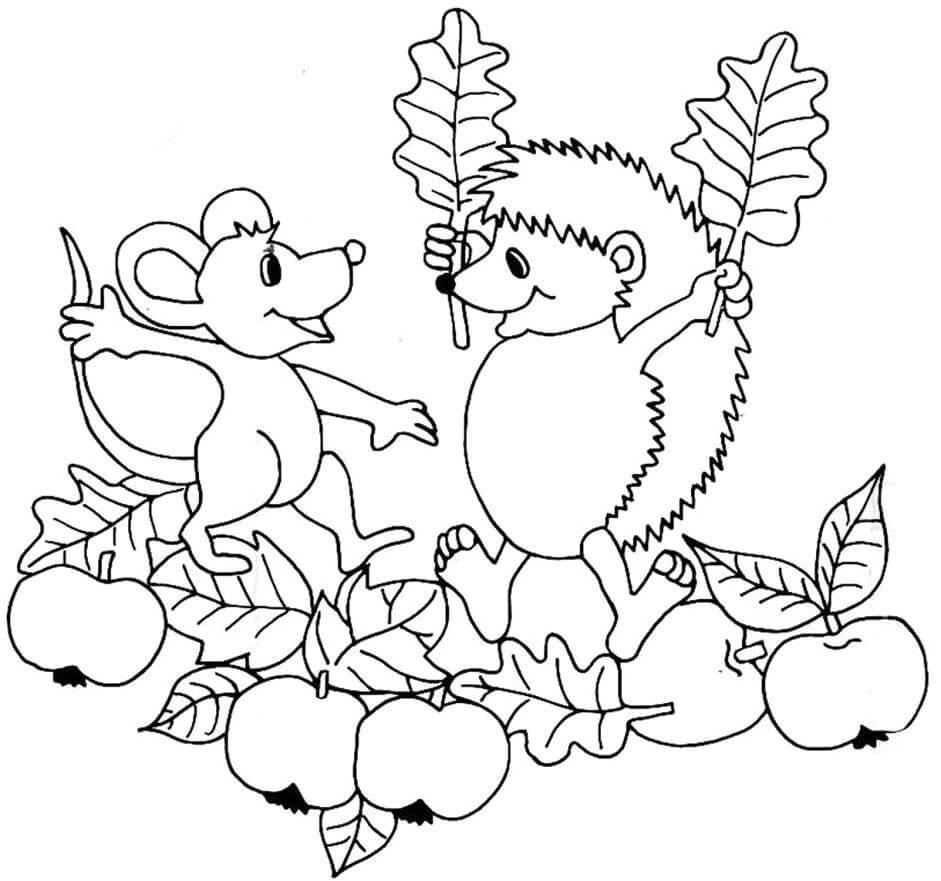Раскраска Ёжик и мышка