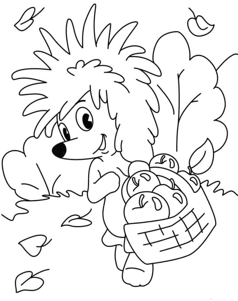 Раскраска Ёжик с корзинкой