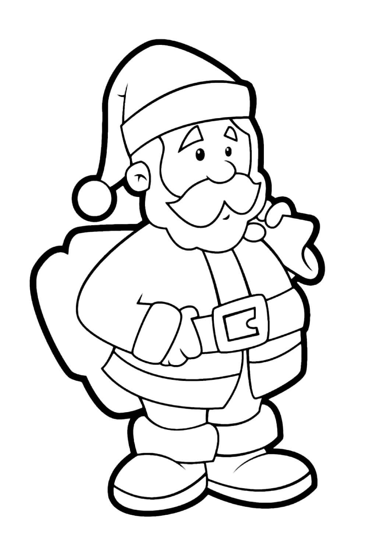 Раскраска Задумчивый Дед Мороз