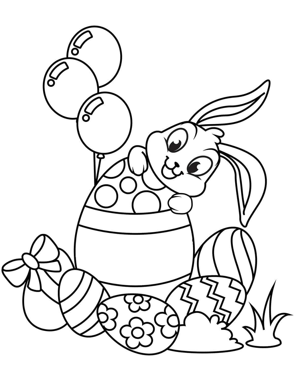 Раскраска Зайчик и пасхальные яйца