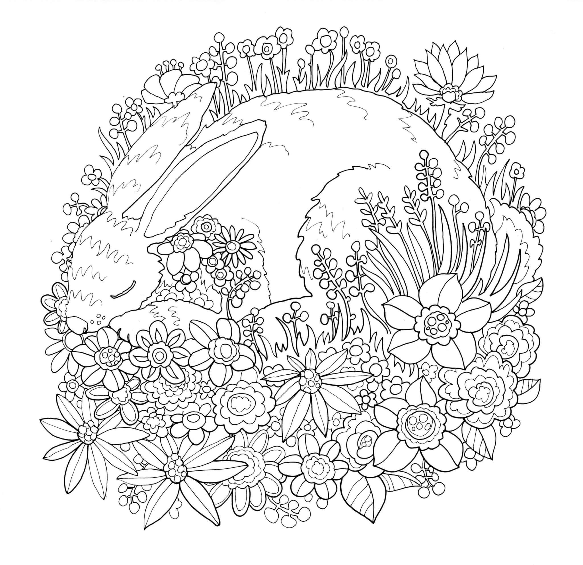 Раскраска Зайчик и цветочки