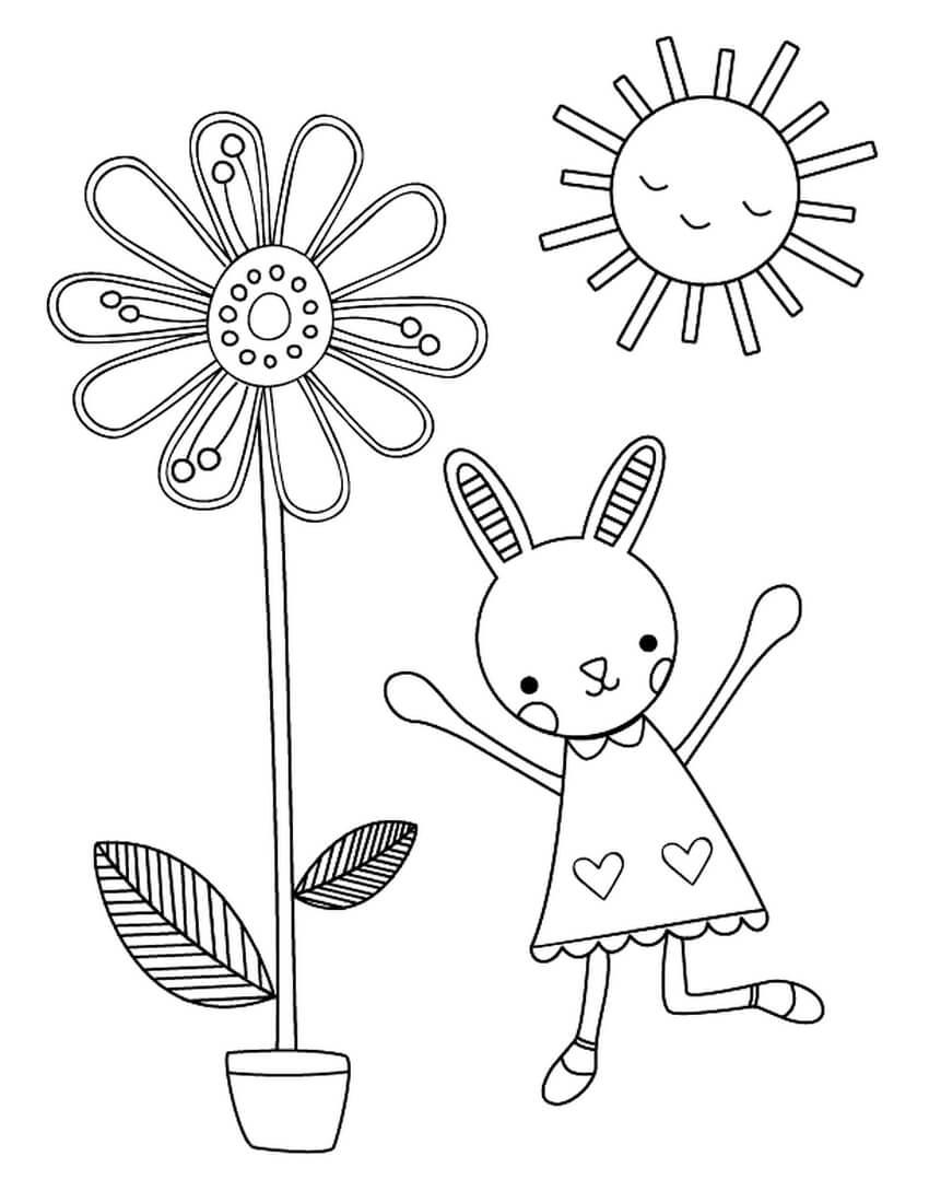 Раскраска Зайчиха и цветочек