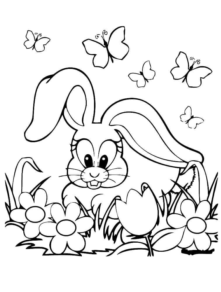 Раскраска Зайка в цветочках