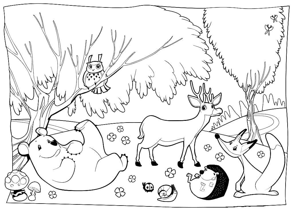 Раскраска Животные в лесу