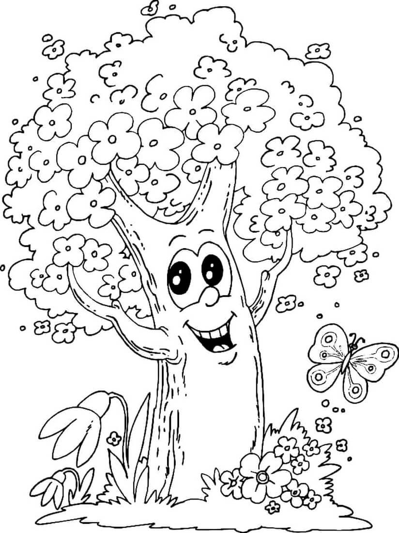 Раскраска Жизнерадостное дерево