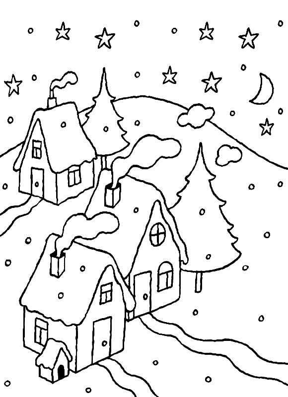 Раскраска Зима в городке
