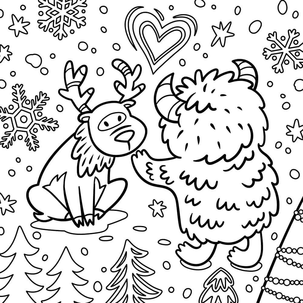 Раскраска Знакомство баранчика и оленёнка
