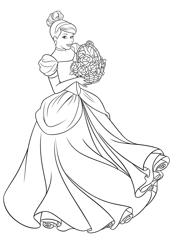 Раскраска Золушка держит корзину цветов