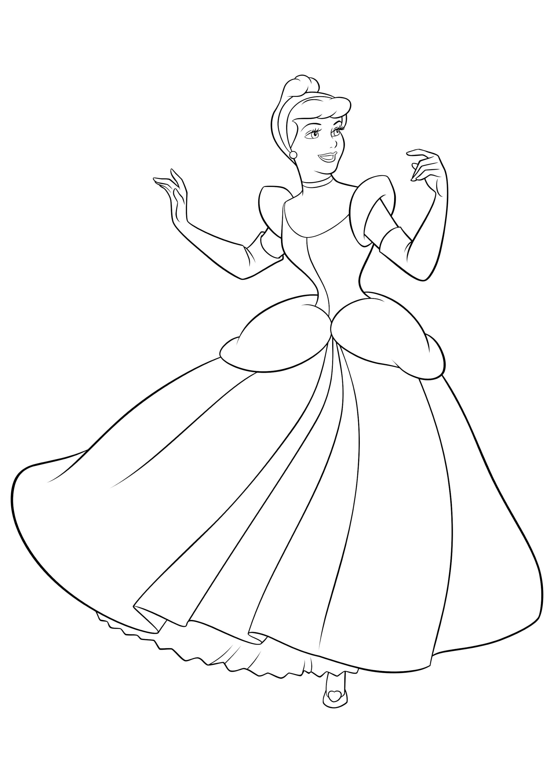 Раскраска Золушка в бальном платье