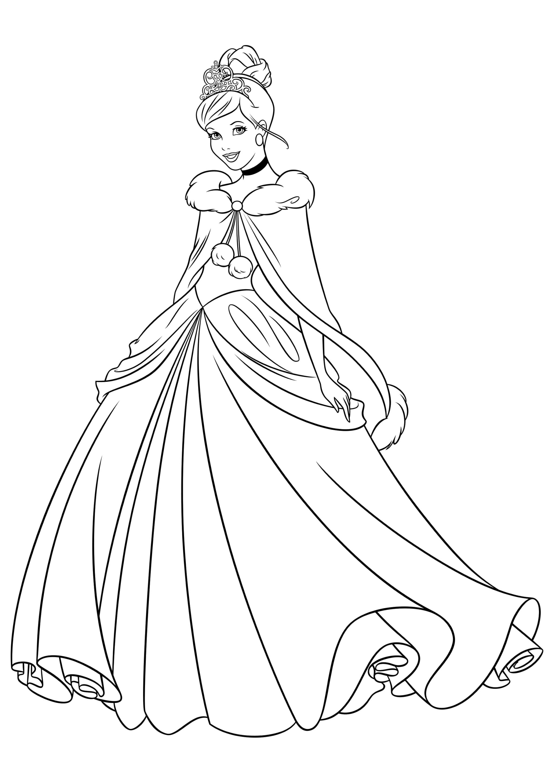 Раскраска Золушка в зимнем наряде
